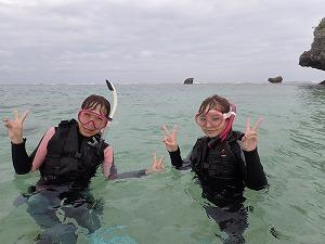 真栄田岬でシュノーケリング