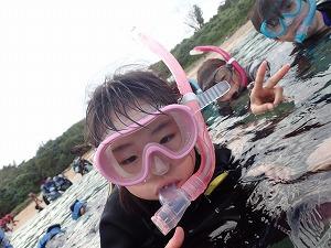 真栄田岬でシュノーケリングこどもと一緒