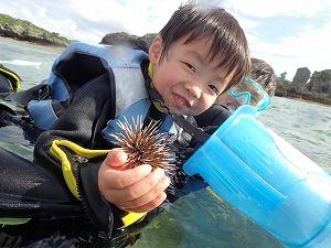 沖縄シュノーケリング子供とウニ