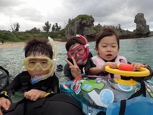 沖縄2歳、5歳とシュノーケリング