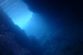 ファンダイビングしたポイントは神秘的な光がさす青の洞窟