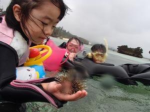 沖縄シュノーケリング幼児の子供とウニ