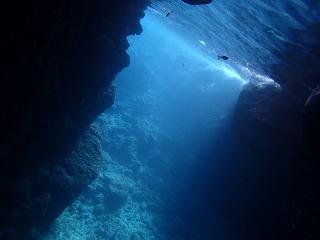 青の洞窟シュノーケリング 洞窟には青い光が差し込みます