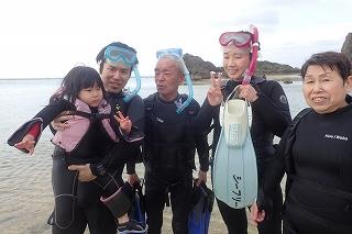 沖縄3世代みんなでシュノーケリング