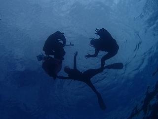 青の洞窟シュノーケリングシルエット写真