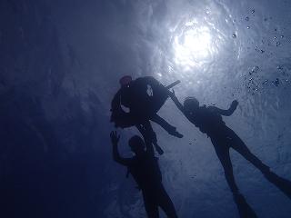 シュノーケリング水中家族写真