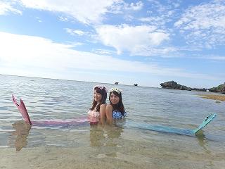 マーメイド体験 海での撮影風景