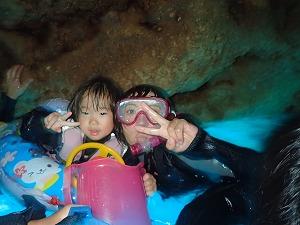 青の洞窟4歳とシュノーケリング