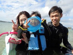 沖縄4歳子連れ家族とシュノーケリング