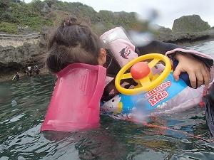 青の洞窟2歳子供シュノーケリング