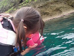 青の洞窟3歳シュノーケリング