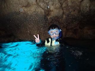青の洞窟シュノーケリング子供