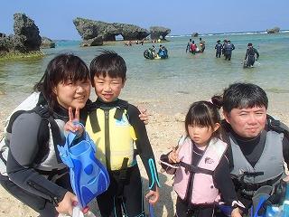 沖縄シュノーケリング3歳、9歳子連れ