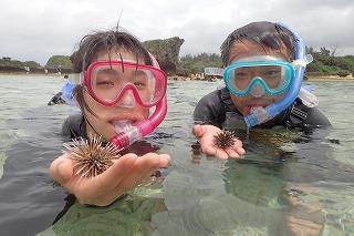 シュノーケリングでウニゲット 沖縄