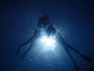 青の洞窟シュノーケリング、シルエット写真