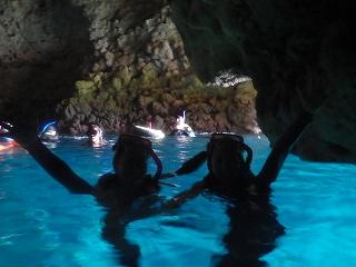 青の洞窟シュノーケリング、シルエット
