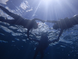 輪になって水底から写真シュノーケリング
