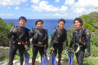 青の洞窟ダイビング 記念写真