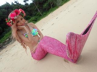 マーメイド体験 プライベートビーチで☆ピンク