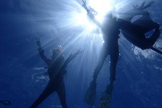 青の洞窟シュノーケリング 水中から見上げた写真