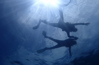 青の洞窟シュノーケリング 記念写真